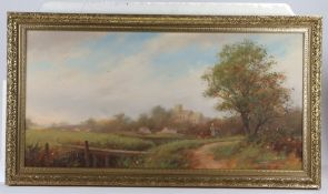 D Thompson, View of a church, signed oil on canvas, 90cm x 44cm