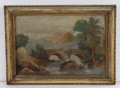 19th Century British school, a bridge over a river, unsigned oil on board, 30cm x 19cm