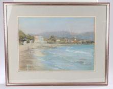 Jean de Gale (1935-2016) Coastal town, signed pastel, 53cm x 38cm