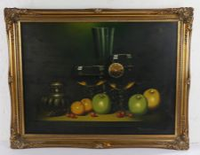 Fironzia, still life of fruit and glasses, signed oil on canvas, 60cm x 44cm