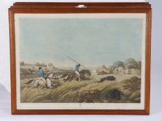After Samuel Howett, set of six hunting coloured prints,'The Chase After a Hog', 'The Hog At