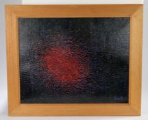 Robert Hackman (Contemporary) Red Rain, signed and dated 96 collage, 54cm x 42cm