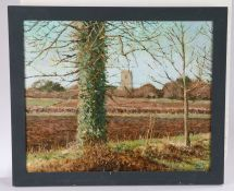 Ken Minns (Contemporary) Newly Ploughed Field, signed oil on board, 52cm x 42cm