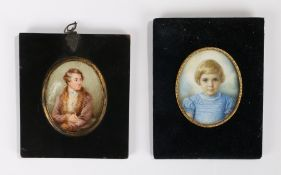 19th Century English School portrait miniature, of a seated gentleman, together with a 20th