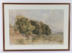 T J Saper, 19th Century British school, boating in a stream, signed watercolour, 51cm x 34.5cm