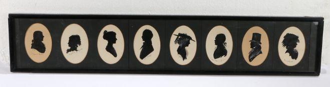 Eight framed silhouettes, Robert Burns, Elizabeth of Russia, Poet Shelley, Fanny Burney, Emperor