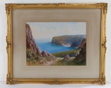 W H Dyer, English School, 'Babbacombe Bay from Patteson', signed watercolour, housed within a gilt