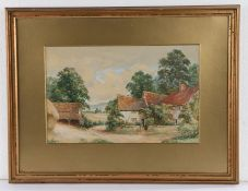 Late 19th Century (English School), study of a farmhouse at Ombersley, pencil signed Hickin to