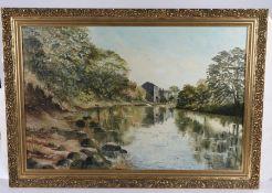 John Dean, Still water near the Old Mill Grassington, 75cm x 50cm