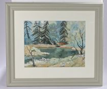 J W Harris (20th Century) Park Pool, signed and dated 70, watercolour, 40cm x 31cm