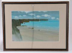 Helmut Wollny (1935) Cliffs, signed watercolour, 42cm x 27cm