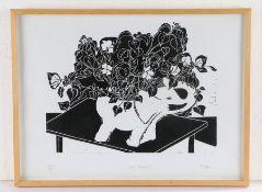 Beryl Scott (contemporary) White Elephant, linocut, pencil signed and numbered 1/4, 50cm x 37cm