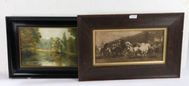 Quantity of various pictures to include, an oleograph entitled 'The Mishap', still life study of