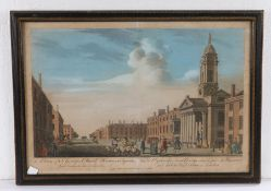 19th Century coloured print, 'A view of St Georges Church Hanover Square', housed within a gilt,