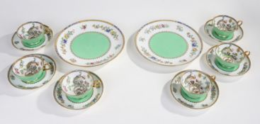 Six each Copeland Spode teacups and saucers, decorated in the Chinese taste, with two matching