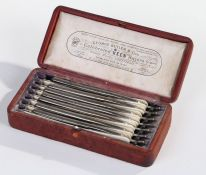 Victorian George Butler cased seven days razor set, the leather box with a silk interior named to