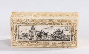 19th Century bone toothpick box, of rectangular form, the hinged lid a scrimshawed scene of a