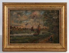 19th Century English School, figures by a path, indistinctly signed oil on board, 27cm x 18cm