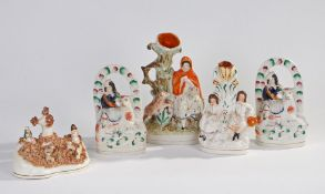 Five various Victorian Staffordshire figures, to include Little Red Riding Hood (5)