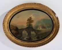 19th Century English School oil landscape, study of a bridge over a river with houses and hills to