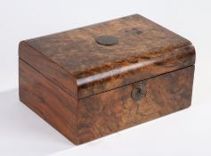 Victorian walnut box, the hinged lid with engraved inset plaque, opening to reveal a blue velvet
