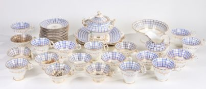 Victorian English porcelain part tea set, decorated in blue and gilt bands on a white ground,