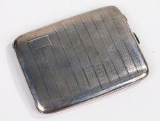 George V silver cigarette case, Birmingham 1930, Henry Matthews, the engine turned case with