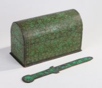 Persian papier mache stationery rack, with domed lid, and similar letter opener, each painted in