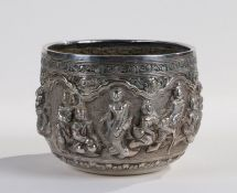 Indian White metal jardiniere, embossed with figures and an elephant, unmarked, 12.5cm wide x 9.