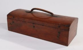 Victorian mahogany domed top box, the hinged lid (AF) with leather carrying handle, opening to