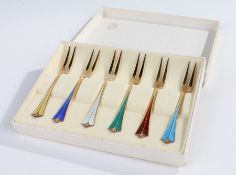 Set of six Norwegian sterling silver gilt cake forks, each with coloured enamel handles, stamped '