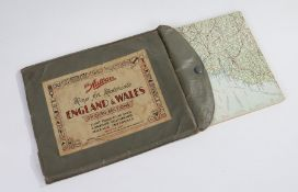The Autocar map for motorists England & Wales, on card sections
