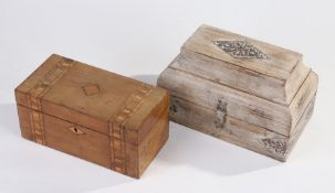 Victorian walnut tea caddy, with inlaid hinged lid together with a modern Eastern type trinket