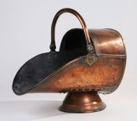 Victorian copper coal scuttle, with swing handle, 39cm deep