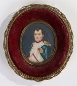 Hand painted portrait miniature depicting Napoloen Bonaparte, housed within a gilt metal frame