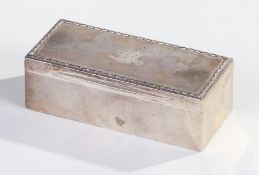 Good quality Edwardian silver box, London 1906, makers marks partially rubbed, of rectangular