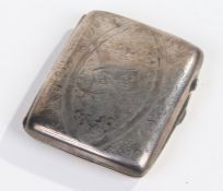 Edwardian silver cigarette case, Birmingham 1909, J. Gloster Ltd., with foliate engraved and