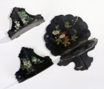 Three late Victorian papier mache wall brackets, each decorated with birds and butterflies amongst