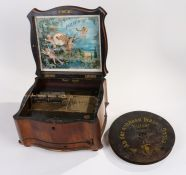 Late Victorian Polyphon music box, the shaped walnut box with brass inlaid hinged lid, opening to