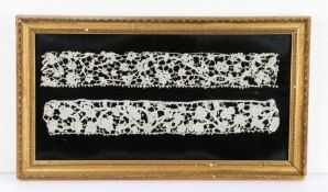 17th Century needlework, a gros point lace strip and flat point lace strip, framed, 51cm x 29cm