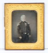 Half plate daguerreotype of a British army officer of Field Rank, circa 1850, the officer wears a