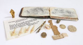Collection of objects, to include a miniature gilt statue of Hercules, a piece of wood carved into