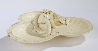 Late 18th Century Leeds creamware serving dish, circa 1790, constructed of three shell shape
