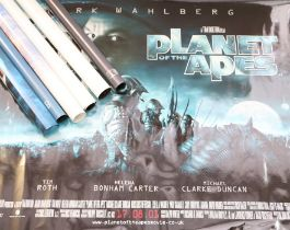 Seven British Quad film posters, consisting of Planet of the Apes, Hannibal, Shrek, Harry Potter,