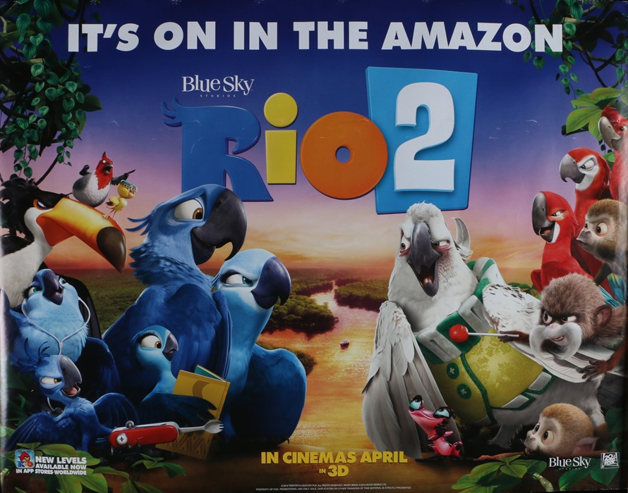 """Rio 2 (2014) - British Quad film poster, rolled, 30"""" x 40"""""""