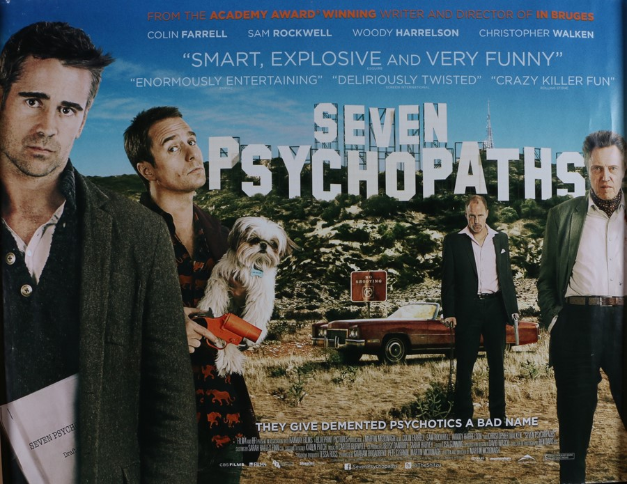 Seven Psychopaths (2012) - British Quad film posters, starring Colin Farrell, Woody Harrelson and