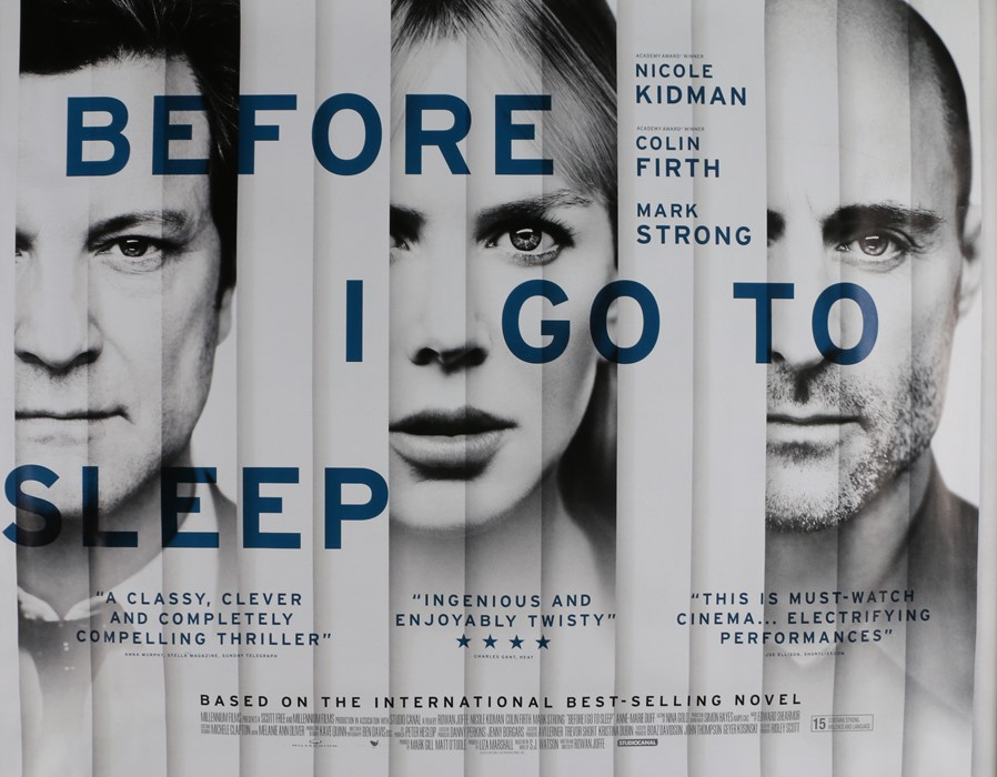 Before I Go To Sleep (2014) - British Quad film poster, starring Nicole Kidman, Colin Firth and Mark