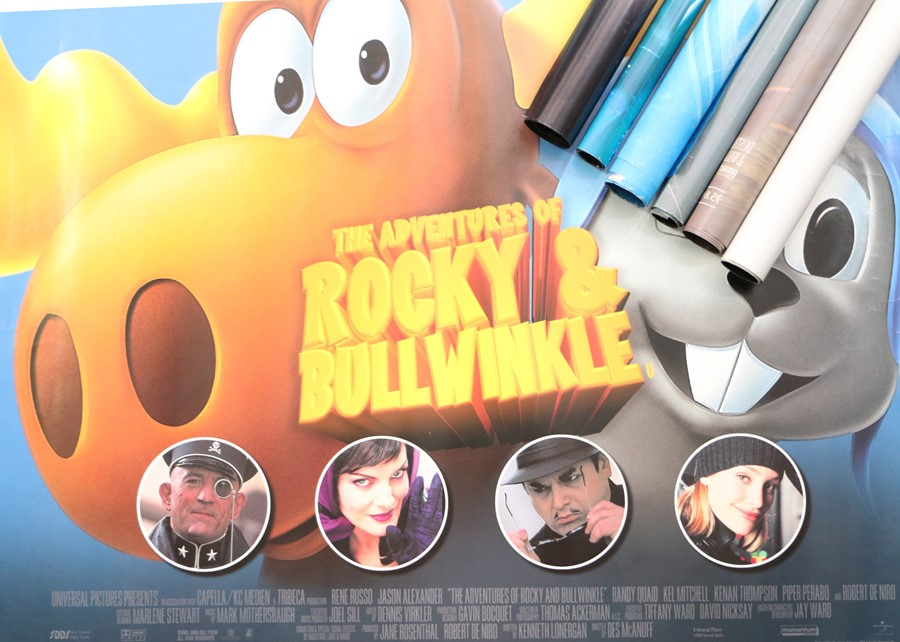 Seven British Quad film posters, consisting of the Adventures of Rocky & Bullwinkle, Tomb Raider,