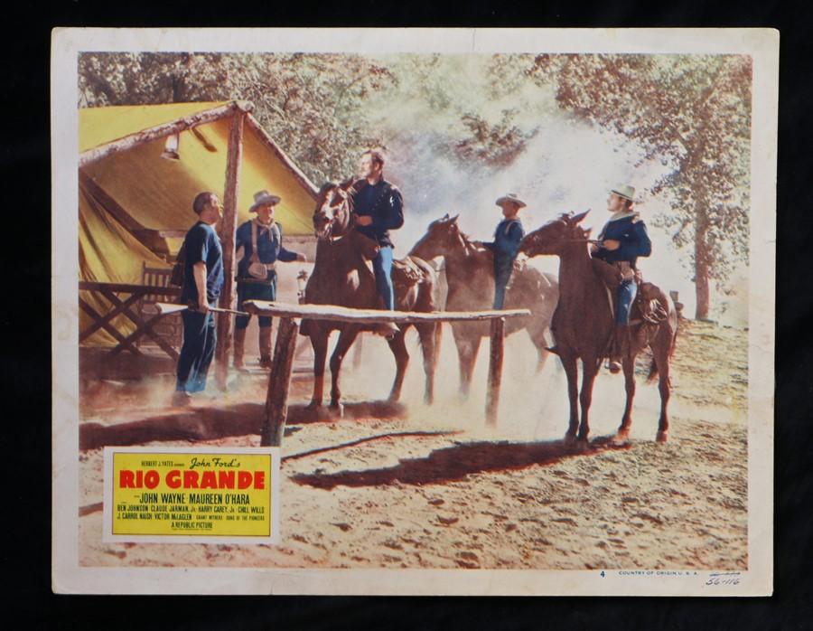 Rio Grande (1950) - American lobby card, starring John Wayne, Maureen O'Hara, and Ben Johnson,