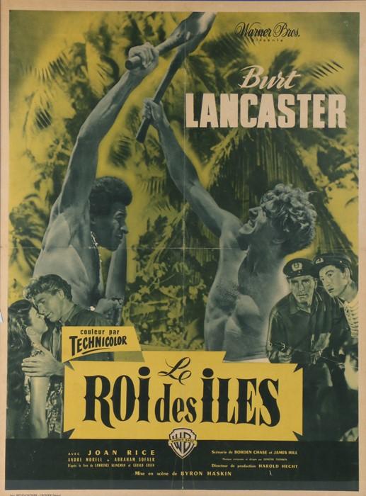 Roi Des Iles film poster, Burt Lancaster, Warner Brothers, printed in France, 58cm x 78cm, framed